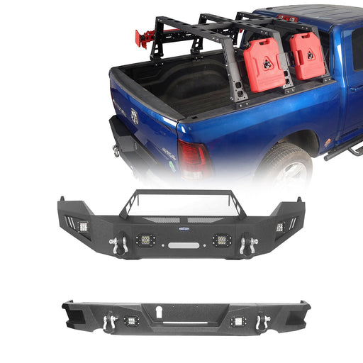 Hooke Road Full Width Front Bumper, Rear Bumper, Bed Rack(09-18 Dodge Ram)