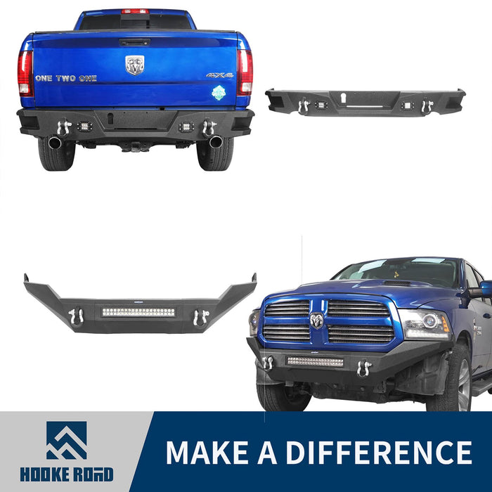 Hooke Road Full Width Front Bumper & Rear Bumper(13-18 Dodge Ram,Excluding Rebel)
