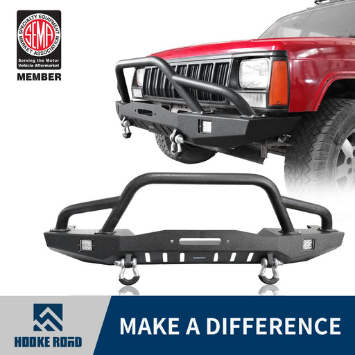 Hooke Road Destroyer Full Width Front Bumper w/2 ¡Á18W LED Spotlights for Jeep Cherokee XJ 1984-2001 BXG320 u-Box Offroad 1