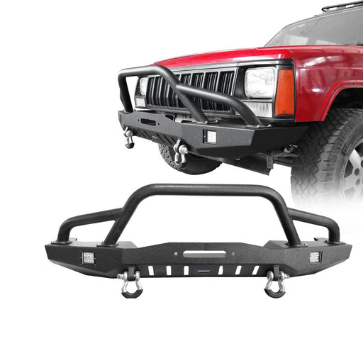 Hooke Road Destroyer Full Width Front Bumper w/2 ¡Á18W LED Spotlights for Jeep Cherokee XJ 1984-2001 BXG320 u-Box Offroad 2