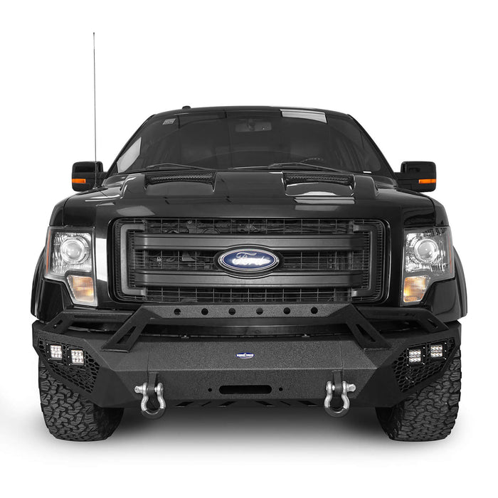 Hooke Road Full-Width Front Bumper w/Grill Guard & Back Bumper Rear Bumper(09-14 Ford F-150, Excluding Raptor)