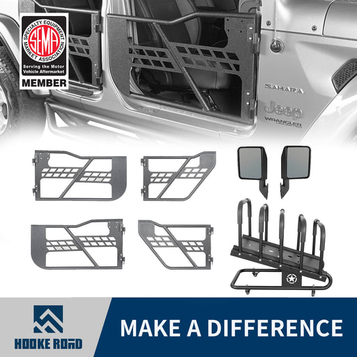 Hooke Road Half Doors, Side Mirrors, Door Rack Door Cart(18-21 Jeep Wrangler JL)