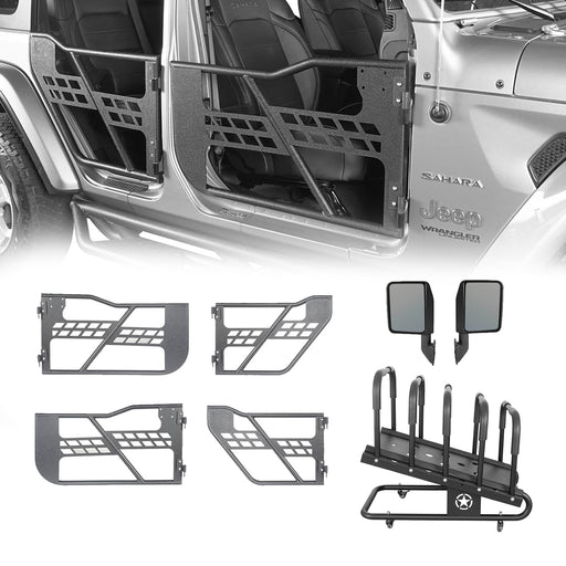 Hooke Road Half Doors / Side Mirrors / Door Rack Door Cart(18-21 Jeep Wrangler JL)