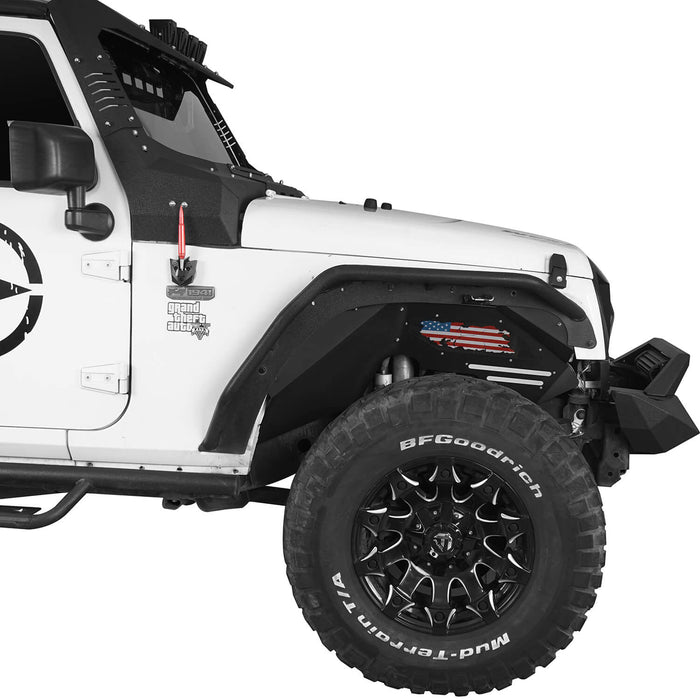 Hooke Road Inner Fender Liners Kit Distressed US Flag(07-18 Jeep Wrangler JK 2/4 Door)