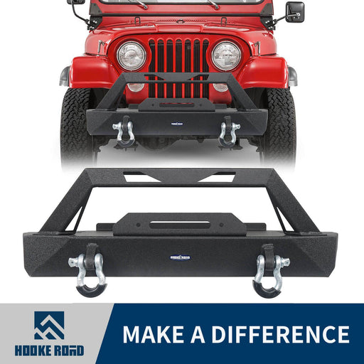 Hooke Road Jeep CJ Stubby Front Bumper with Winch Plate for 1976-1986 Jeep Wrangler CJ u-Box Offroad Jeep CJ Bumpers BXG9015 1