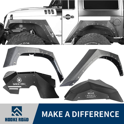Hooke Road Armour Fender Flares Kit Inner Fender Liners for Jeep Wrangler JK 2007-2018 Jeep JK Metal Fenders Jeep JK Accessories BXG208MMR1760BXG223 u-Box offroad 1