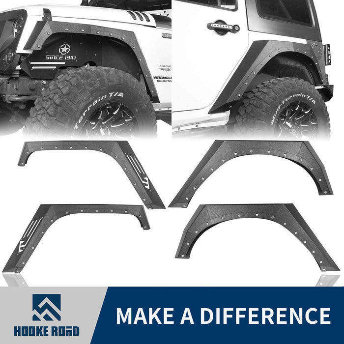 Hooke Road Jeep JK Fender Flares Armour Style Front and Rear Kit for Jeep Wrangler JK 2007-2018 BXG208 Jeep JK Metal Fenders Jeep JK Accessories u-Box offroad 1