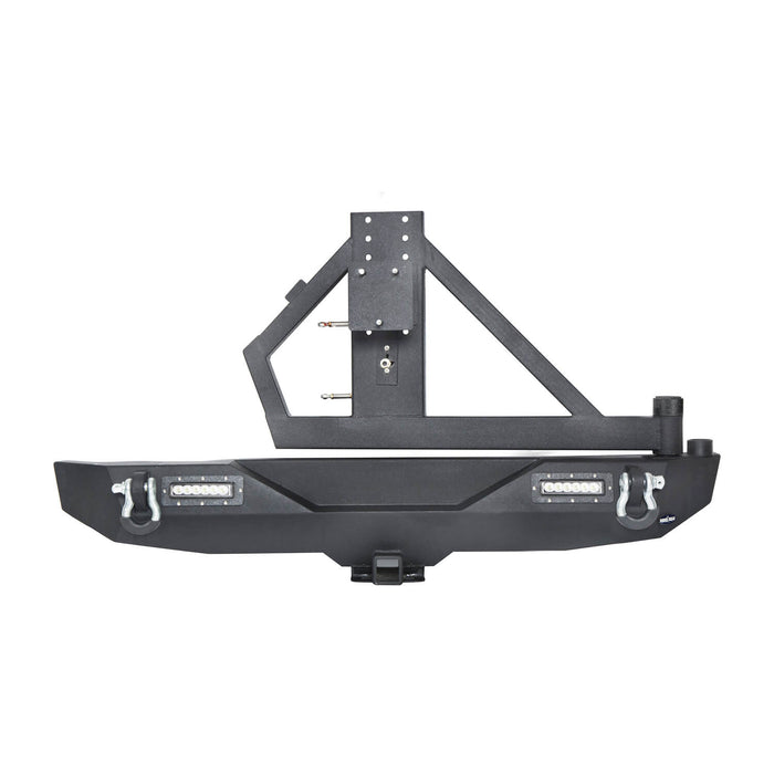 Hooke Road Different Trail Rear Bumper w/Tire Carrier & LED Floodlights(07-18 Jeep Wrangler JK)