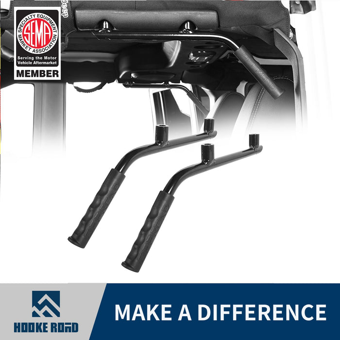 Hooke Road Jeep JK Rear Grab Handles w/Black Grips for Jeep Wrangler JK 2007-2018 MMR1821 u-Box Offroad 1