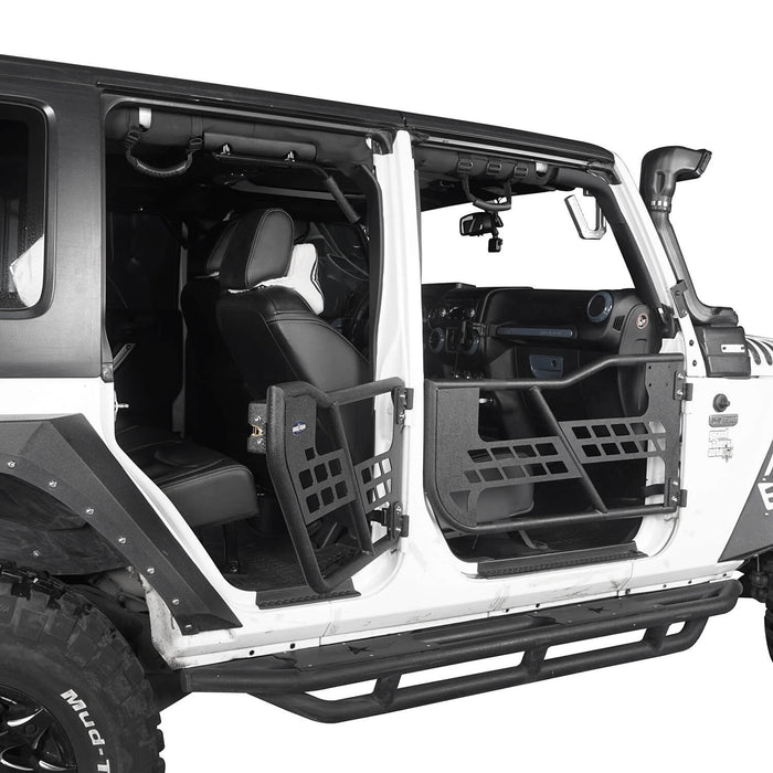 Hooke Road Jeep JK Running Boards and Tubular Half Doors Combo for Jeep Wrangler JK 2007-2018 BXG106136 Jeep JK Side Steps Jeep Tube Doors Jeep Half Doors u-Box Offroad 11