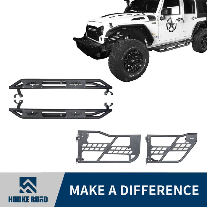 Hooke Road Jeep JK Running Boards and Tubular Half Doors Combo for Jeep Wrangler JK 2007-2018 BXG106136 Jeep JK Side Steps Jeep Tube Doors Jeep Half Doors u-Box Offroad 1
