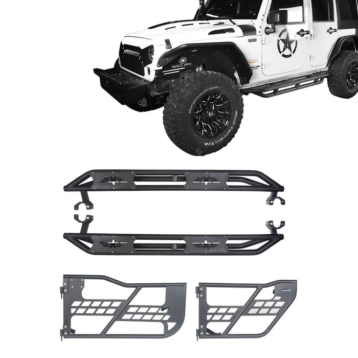 Hooke Road Jeep JK Running Boards and Tubular Half Doors Combo for Jeep Wrangler JK 2007-2018 BXG106136 Jeep JK Side Steps Jeep Tube Doors Jeep Half Doors u-Box Offroad 2