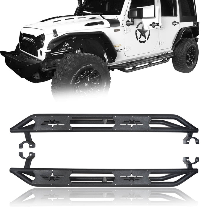 Hooke Road Jeep JK Running Boards and Tubular Half Doors Combo for Jeep Wrangler JK 2007-2018 BXG106136 Jeep JK Side Steps Jeep Tube Doors Jeep Half Doors u-Box Offroad 4