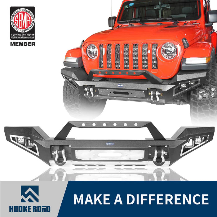 Hooke Road Jeep JL Full Width Front Bumper with Winch Plate for Jeep Wrangler JL 2018-2020 BXG517 Jeep JL Accessories u-Box offroad 1
