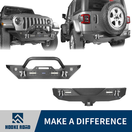 Hooke Road Jeep JL Mid Width Front Bumper with Winch Plate Rear Bumper for 2018-2019 Jeep Wrangler JL bxg543bxg505 Jeep Parts Jeep Body Kits u-Box offroad 1