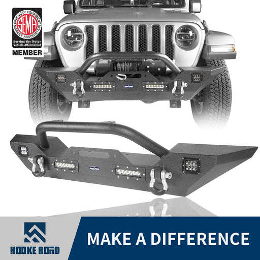Hooke Road Different Trail Front Bumper w/Winch Plate Mid Width Bumper (20-21 Jeep Gladiator JT)