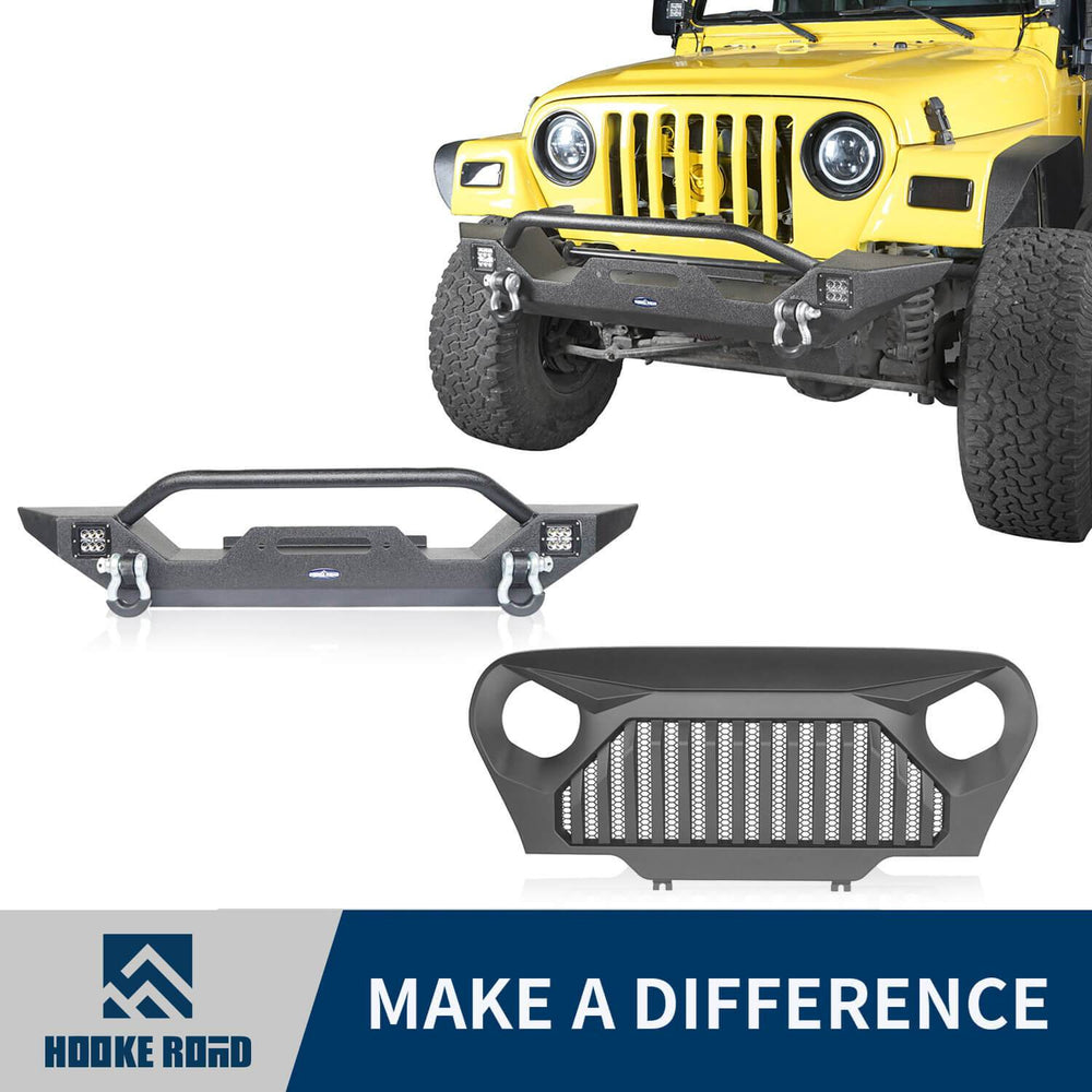Hooke Road Jeep TJ Front Bumper and Gladiator Grille Cover Combo for Jeep Wrangler TJ 1997-2006 MMR0276BXG149 Different Trail Front Bumper u-Box Offroad 1