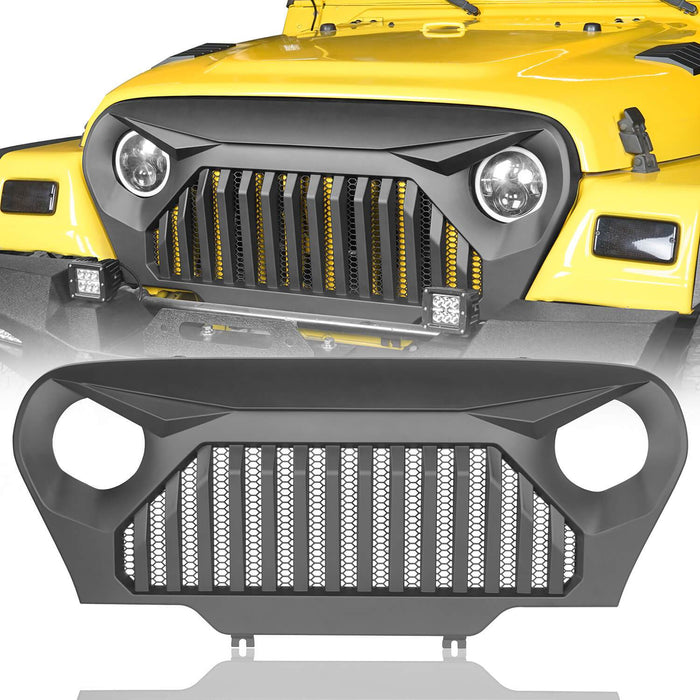 Hooke Road Jeep TJ Front Bumper and Gladiator Grille Cover Combo for Jeep Wrangler TJ 1997-2006 MMR0276BXG149 Different Trail Front Bumper u-Box Offroad 8
