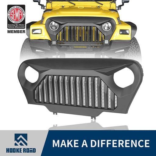 Hooke Road Vader Grill with Mesh Inserts Jeep Vader Grill Front Grille Cover Jeep Grille Cover for Jeep Wrangler TJ 1997-2006 MMR-0276 Jeep Body Armor 1
