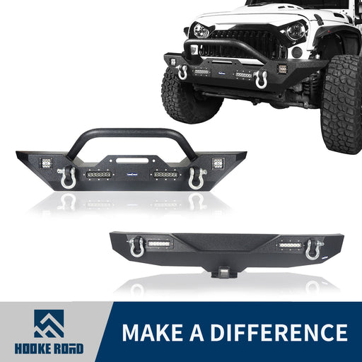 Hooke Road® Different Trail Front & Rear Bumper Combo(07-18 Jeep Wrangler JK)