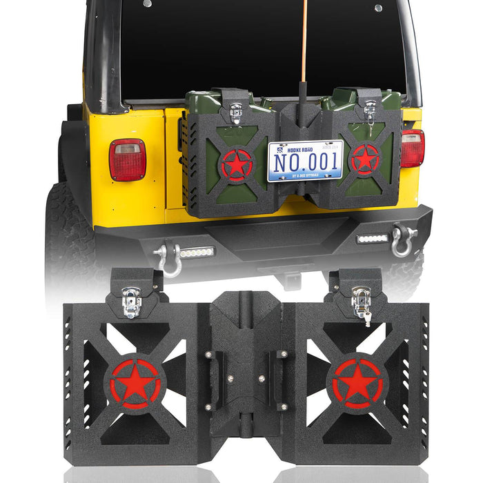 Hooke Road Double Jerry Gas Can Holder Tailgate Mount(97-06 Jeep Wrangler TJ)