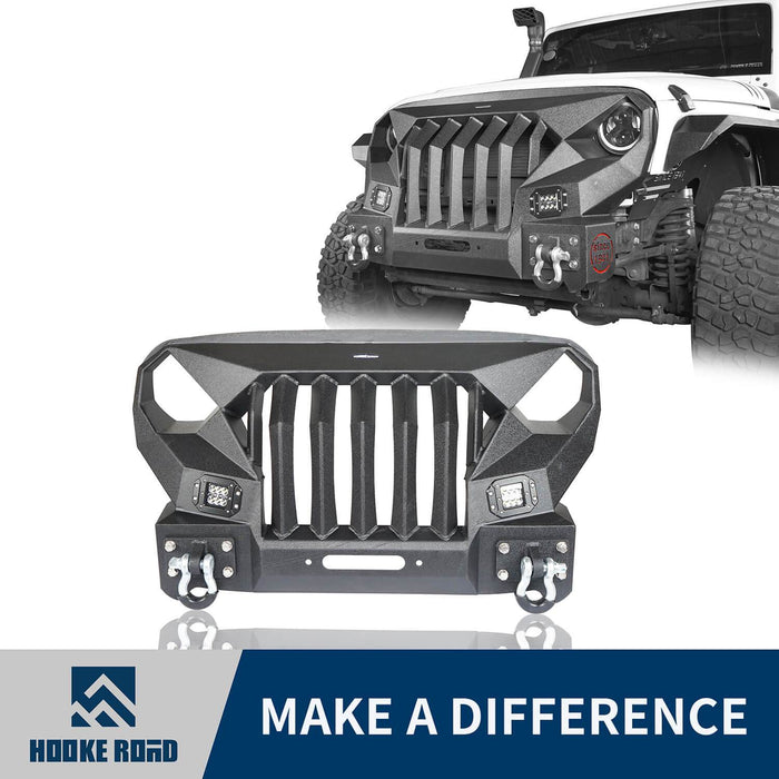 Hooke Road Front Bumper w/Grille Guard &  Winch plate for 2007-2018 Jeep Wrangler JK u-Box Offroad BXG183 1