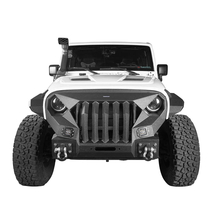 Hooke Road Front Bumper w/Grille Guard &  Winch plate for 2007-2018 Jeep Wrangler JK u-Box Offroad BXG183 3