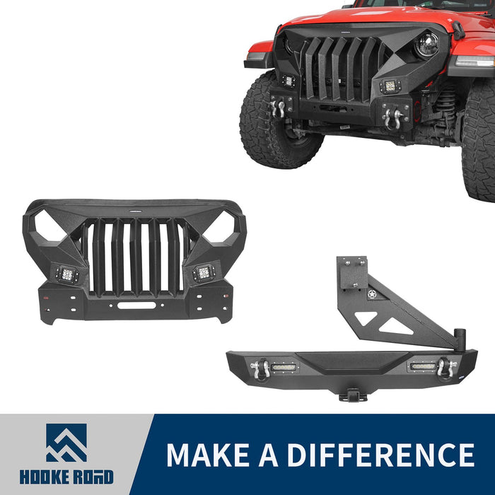 Hooke Road Mad Max Front Bumper & Rear Bumper w/Tire Carrier(18-21 Jeep Wrangler JL 4 Door)