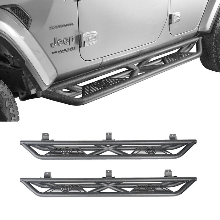 Hooke Road Full Width Front Bumper with Mad Max Grill & Side Steps(18-21 Jeep Wrangler JL 4 Door)