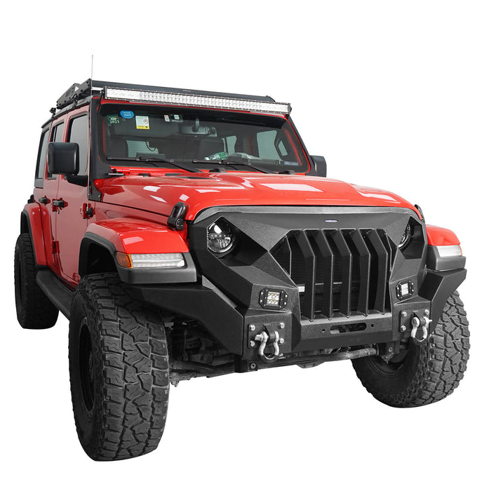Hooke Road Mad Max Front Bumper Grill & Tube Side Steps(18-21 Jeep Wrangler JL 4 Door)
