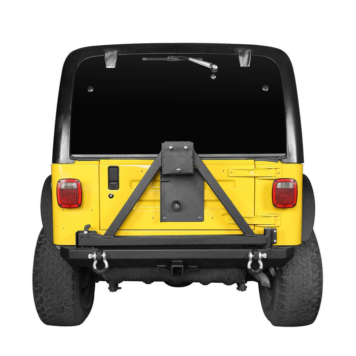 Hooke Road Opar Matte Black Rear Bumper w/Tire Carrier & 2 Inch Receiver Hitches for 1997-2006 Jeep Wrangler TJ BXG281 u-Box offroad 4