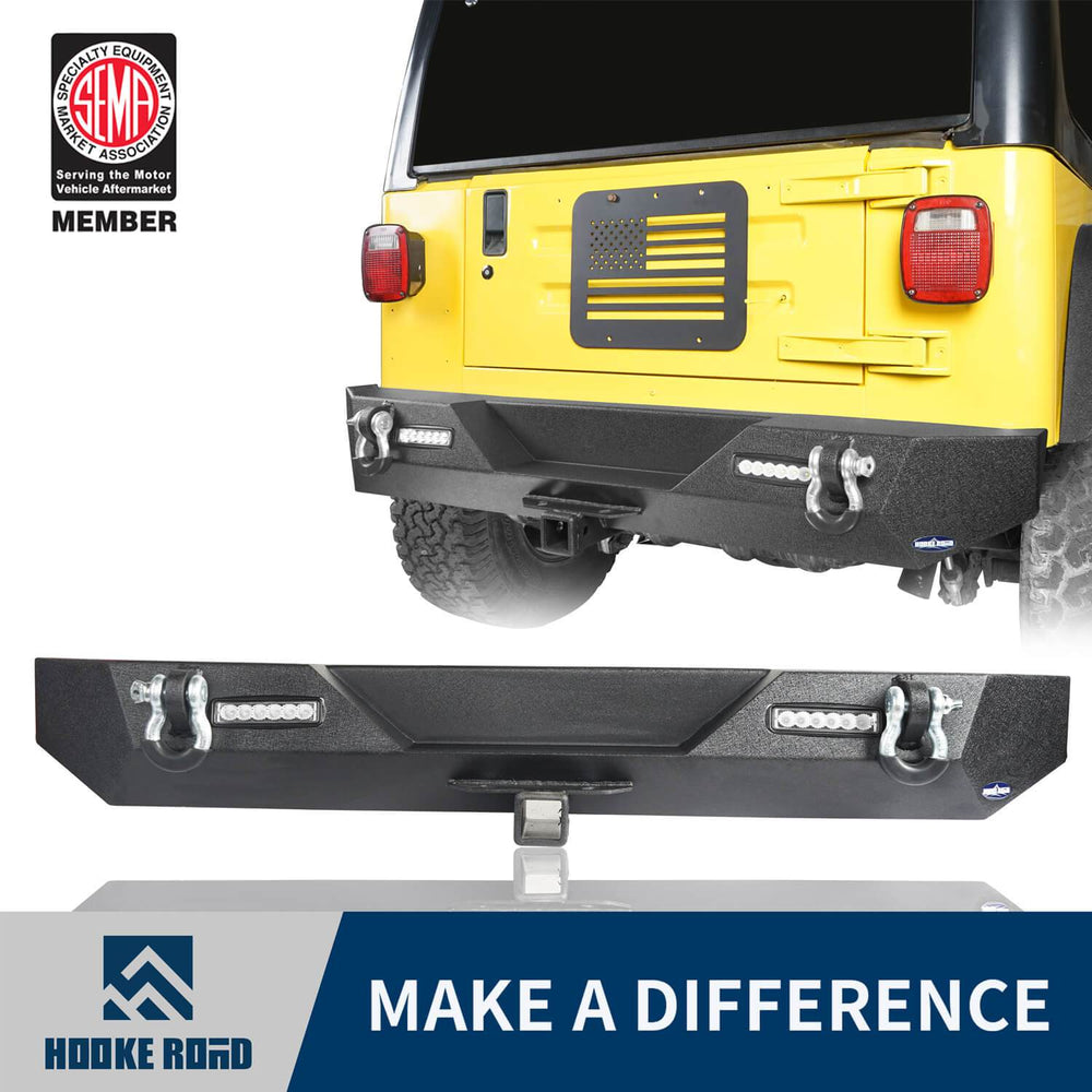 Hooke Road Different Trail Rear Bumper w/2 Inch Hitch Receiver for Jeep Wrangler TJ YJ 1987-2006 BXG120 u-Box offroad 1
