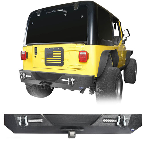 Hooke Road Different Trail Rear Bumper w/2 Inch Hitch Receiver for Jeep Wrangler TJ YJ 1987-2006 BXG120 u-Box offroad 2