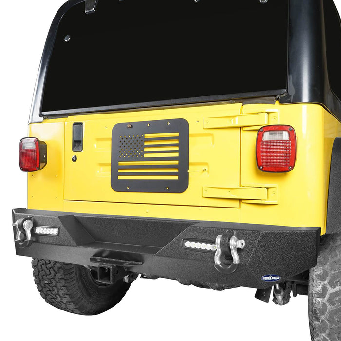 Hooke Road Different Trail Rear Bumper w/2 Inch Hitch Receiver for Jeep Wrangler TJ YJ 1987-2006 BXG120 u-Box offroad 3
