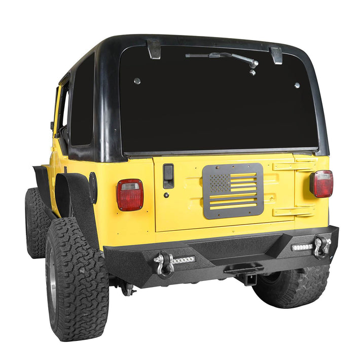 Hooke Road Different Trail Rear Bumper w/2 Inch Hitch Receiver for Jeep Wrangler TJ YJ 1987-2006 BXG120 u-Box offroad 5