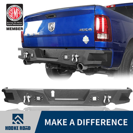 Hooke Road Dodge Ram Rear Bumper for 2009-2018 Dodge Ram 1500 Dodge Ram Parts BXG802 u-Box offroad 1