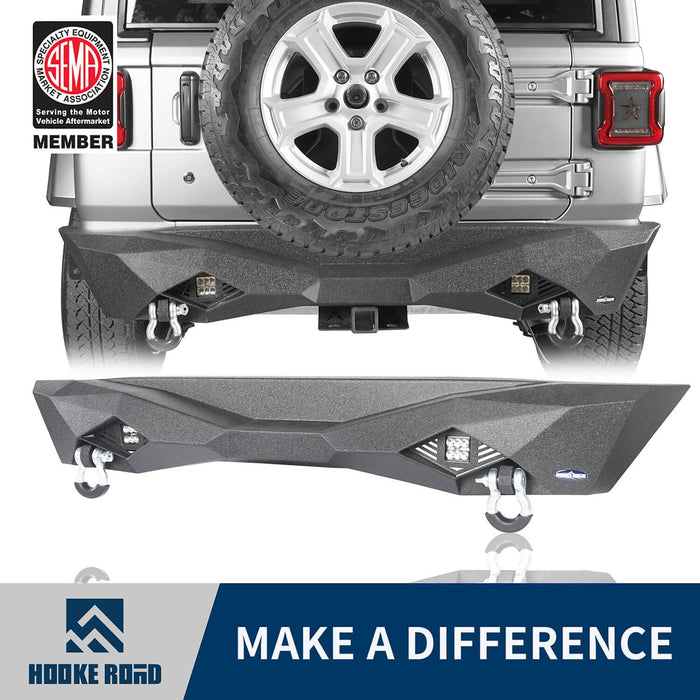 Hooke Road Jeep JL Rear Bumper w/Hitch Receiver Jeep JL Bumper Jeep JL Accessories for 2018-2019 Jeep Wrangler JL u-Box offroad 1