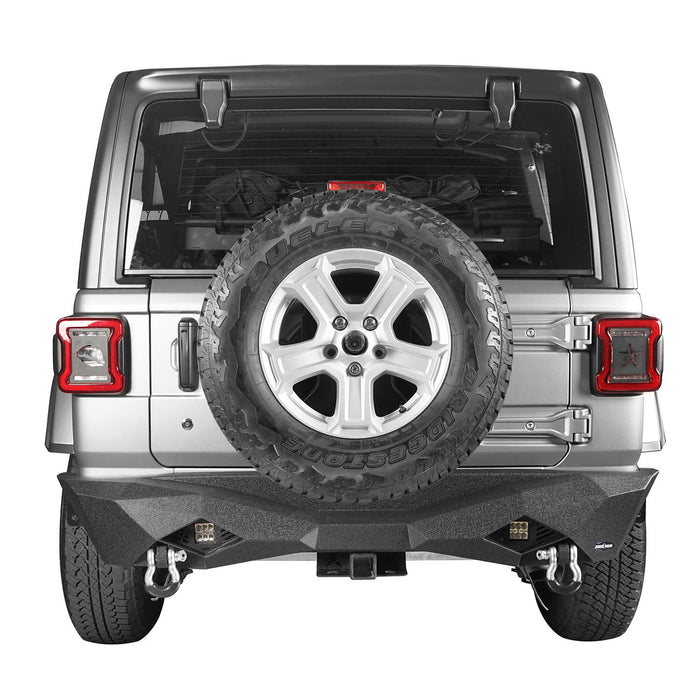 Hooke Road Jeep JL Rear Bumper w/Hitch Receiver Jeep JL Bumper Jeep JL Accessories for 2018-2019 Jeep Wrangler JL u-Box offroad 5