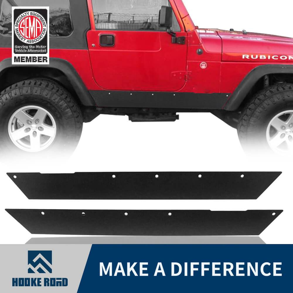 Hooke Road Textured Steel Rock Slider Rock Guard Body Armor Fit(97-06 Jeep Wrangler TJ,Excluding Unlimited LJ)