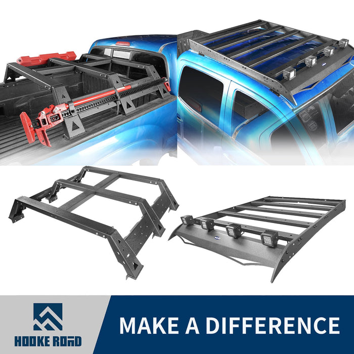 Hooke Road Roof Rack Luggage Cargo Carrier & 11.7 Inch High Bed Rack(05-21 Toyota Tacoma)