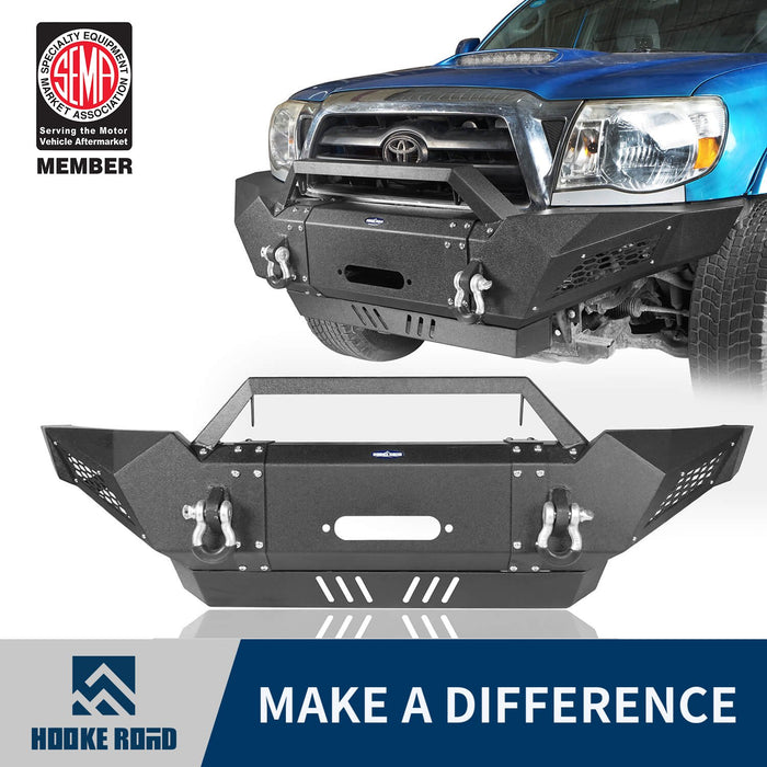 Hooke Road Toyota Tacoma Front Bumper with Winch Plate Toyota Tacoma Parts for Toyota Tacoma 2005-2015 BXG402 u-Box offroad 1