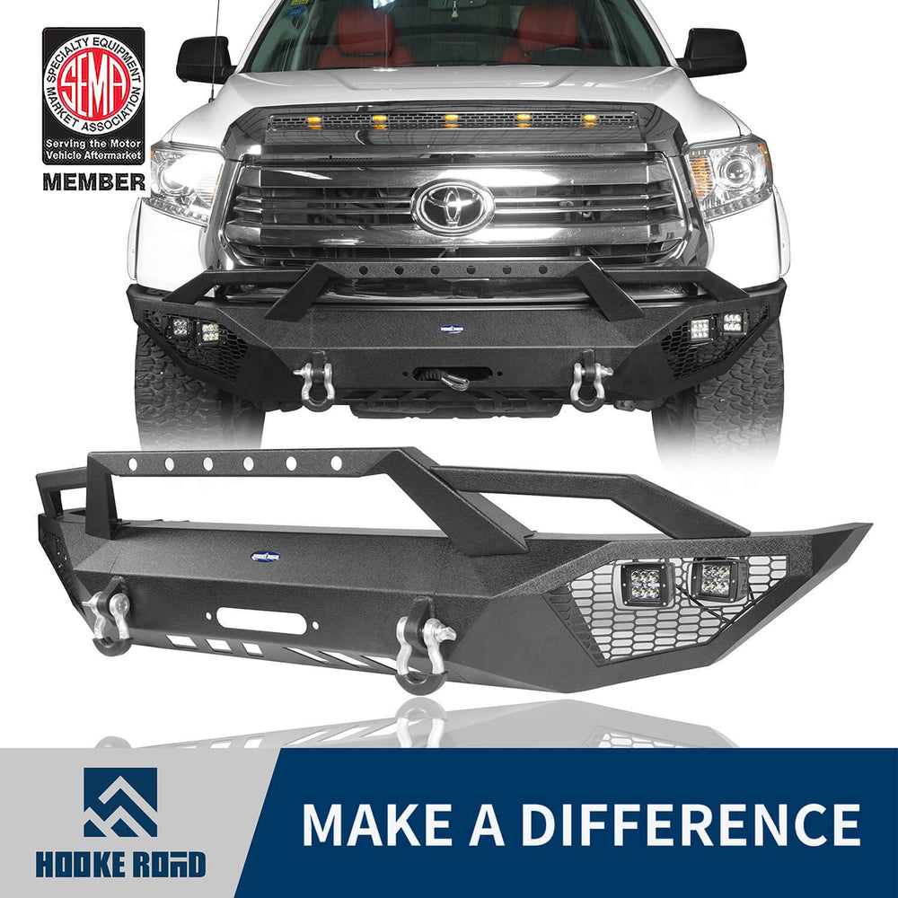 Hooke Road Toyota Tundra Front Bumper Toyota Tundra Full Width Bumper for Toyota Tacoma 2014-2019 BXG600 u-Box offroad 1