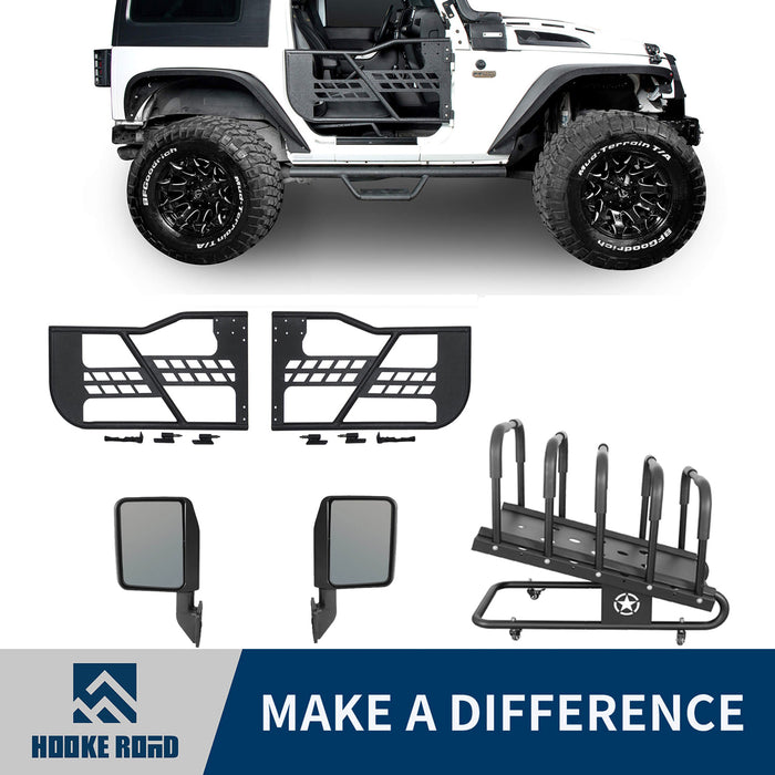 Hooke Road 2 Door Tube Doors / Door Hanger Storage(07-18 Jeep Wrangler JK JKU)