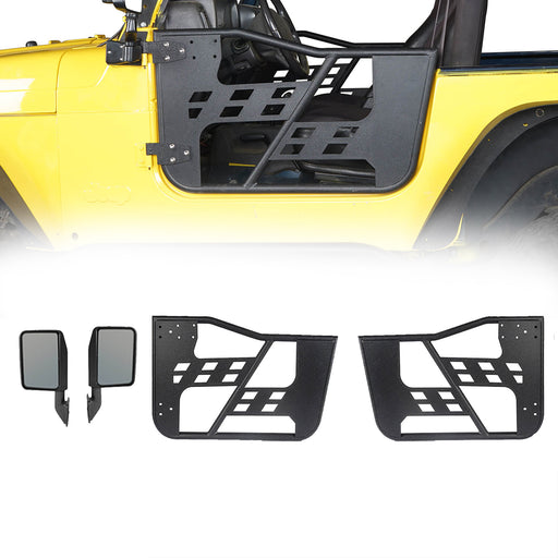 Hooke Road Rock Crawler Tubular Door Guards w/Side Mirrors(97-06 Jeep Wrangler TJ)