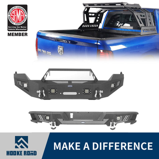 Hooke Road Full Width Front Bumper / Rear Bumper / Bed Rack Luggage Basket(13-18 Dodge Ram 1500,Excluding Rebel)