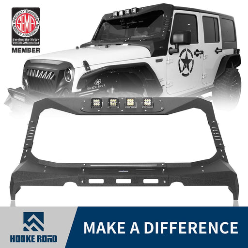 Hooke Road Windshield Frame Cover Visor Roof Sun Visor Cowl Body Armor(07-18 Jeep Wrangler JK)