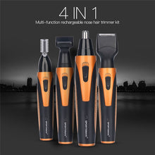 Load image into Gallery viewer, 4 in 1 Portable Rechargeable Nose Ear Hair Trimmer Set Wireless Men Cutter Beard Shaver Face Eyebrow Nose Hair Removal Device