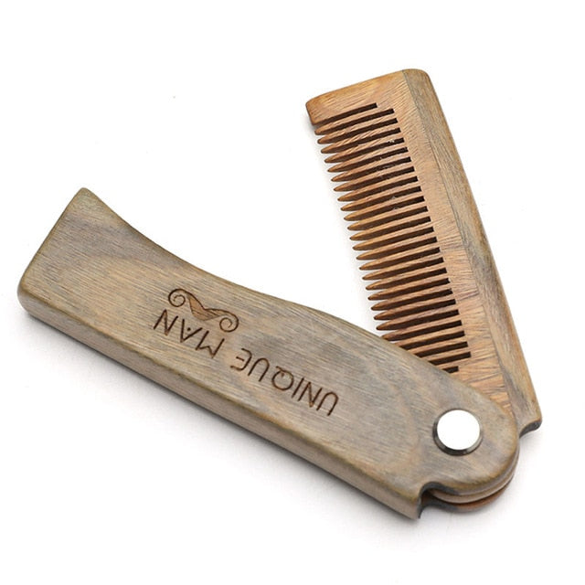 Natural Green Sandal wood Fold Comb Hair Comb For Men Beard Care  Anti-static Wooden Comb Hair Care Tools Hair Brush 1pc