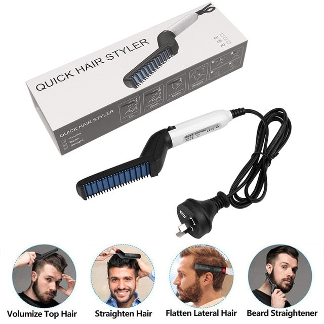Multifunctional Hair Comb Brush Quick Beard Straightener Men's Hair Straightening Flat Iron Heated Hair Comb Show Cap Styler