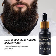 Load image into Gallery viewer, Men Beard Growth  Oil Kit Soften Hair Growth Nourishing Enhancer Beard Wax Balm Moustache Oil Leave-In Conditioner Beard Care